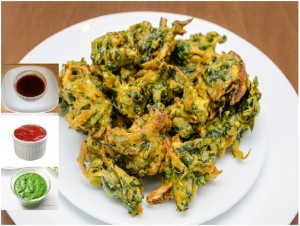 An Evening snack: Spinach pakoda (spinach fritters)
