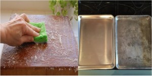 Cleaning cutting board and cookie tray