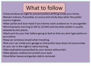 What to do during pollen seasons?