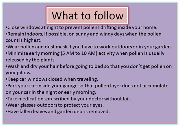What to do during pollen seasons? - Click here to Read