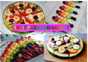 Fruit Pizza and Fruit Kabob and Dip