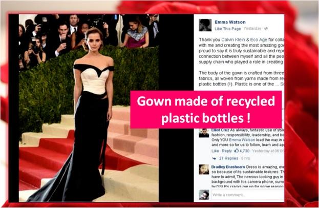 Risultati immagini per emma watson dress in recycled plastic