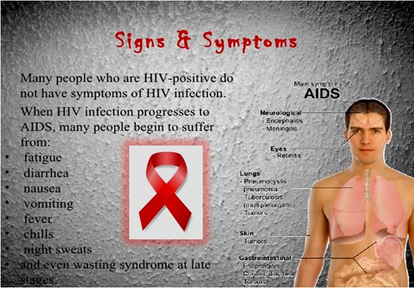 hiv signs and symptoms Learn the symptoms and signs of human immunodeficiency virus (hiv) infection and the medications used in treatment common symptoms and signs include fever, rash, swollen glands, sore throat, mouth sores, and night sweats.