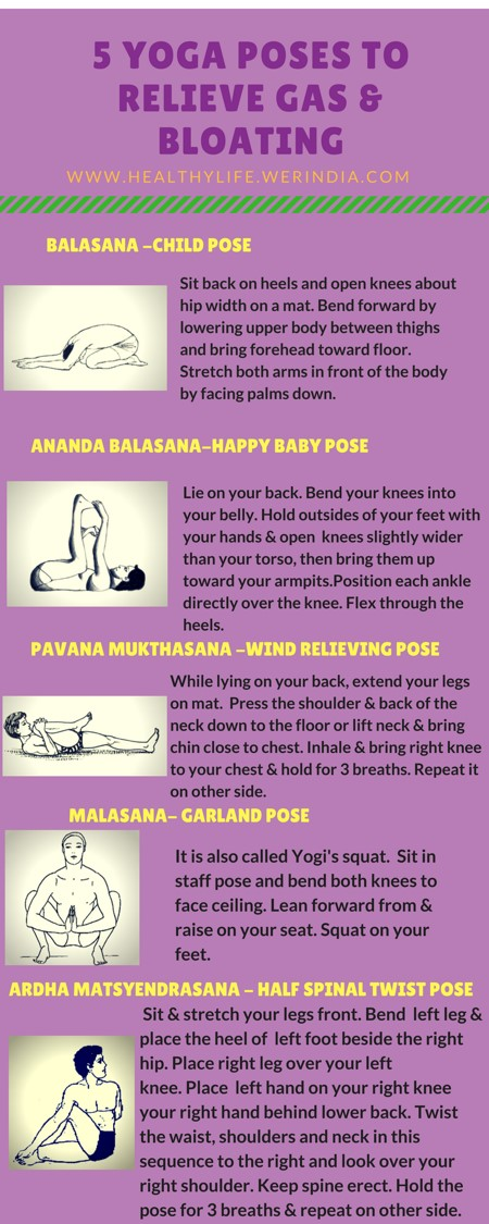 5 yoga poses to relieve gas & bloating