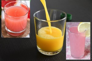 Grapefruit Juice, Pink Lemonade and Orange juice
