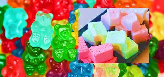 Gummy bears, Jell-O, Marshmallows