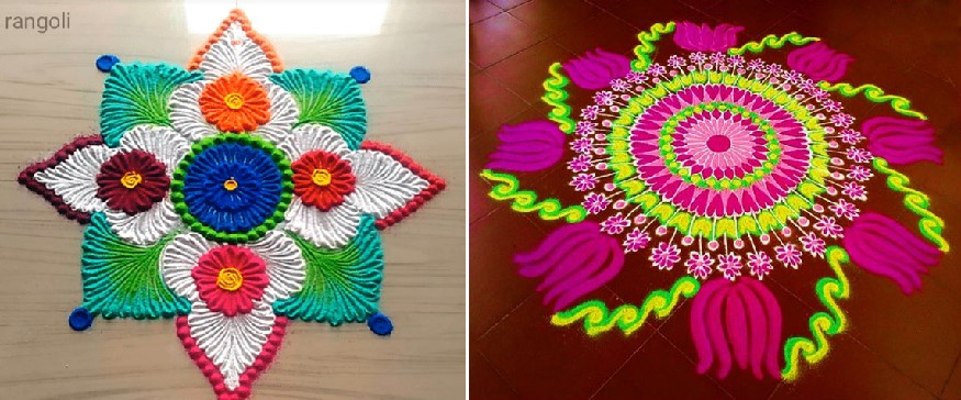 Rangoli colorful - Traditional art Rangoli helps hands and mind