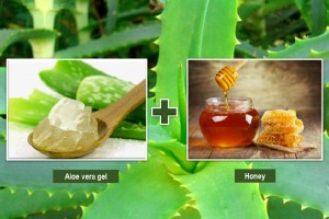 Aloe vera gel and honey for skin