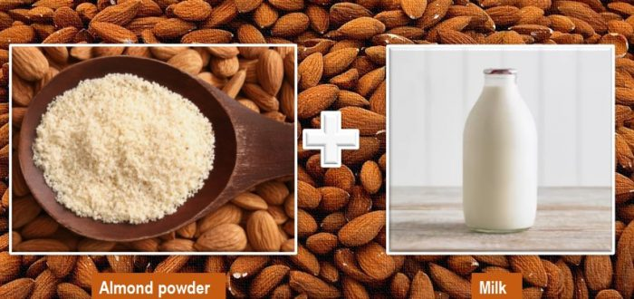 almond powder and milk for skin