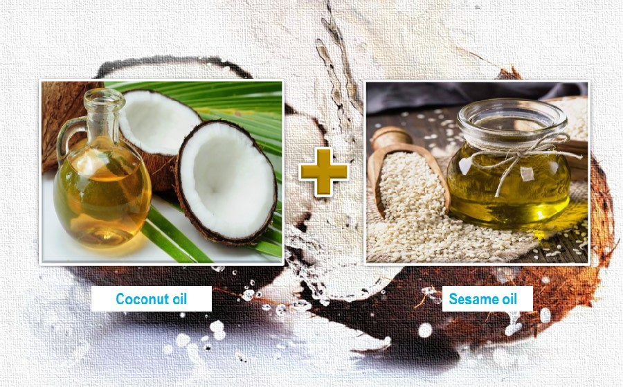 Coconut oil and sesame oil for skin