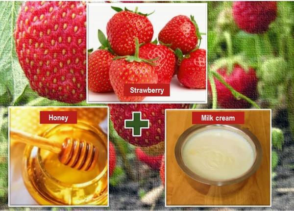 Honey, cream and strawberry for skin