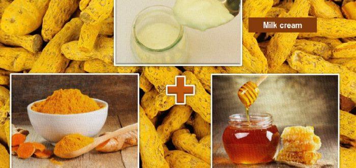 turmeric, cream and honey for skin