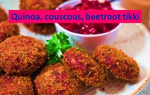 Quinoa couscous beetroot tikki