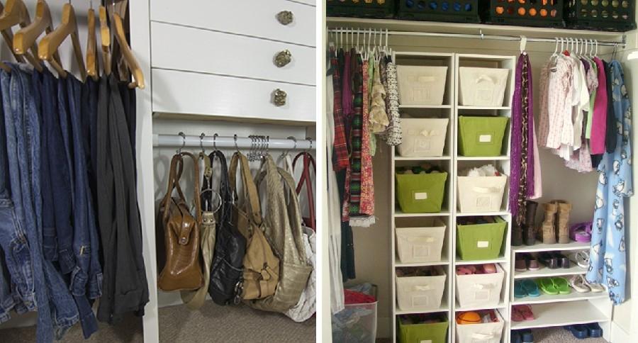 Storage bins closet