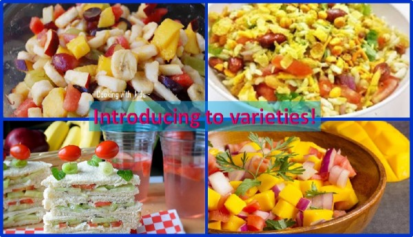Varieties of foods for kids