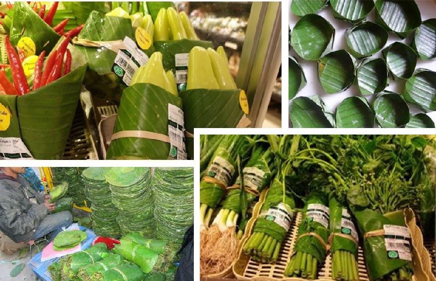 Banana leaves produce packaging