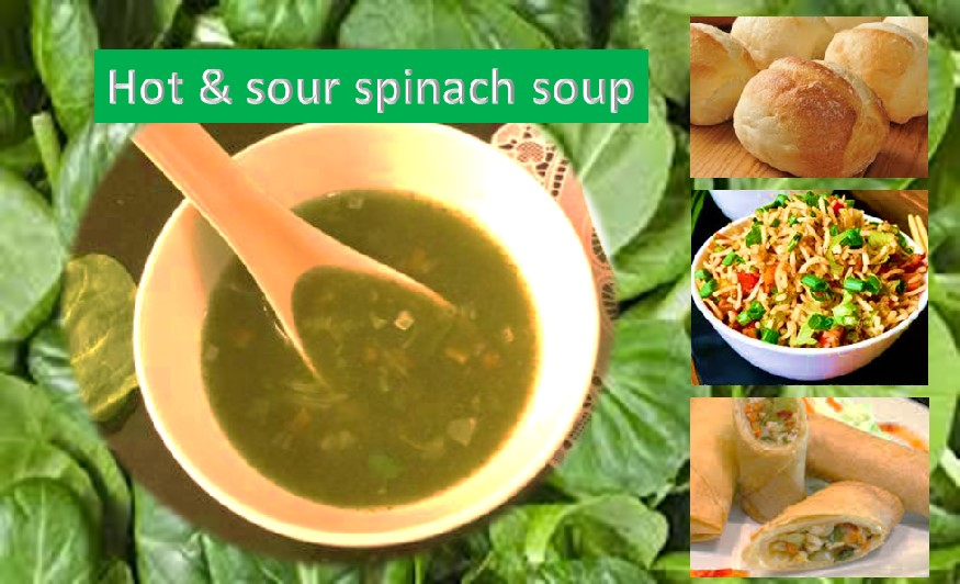 Spinach soup hot and sou