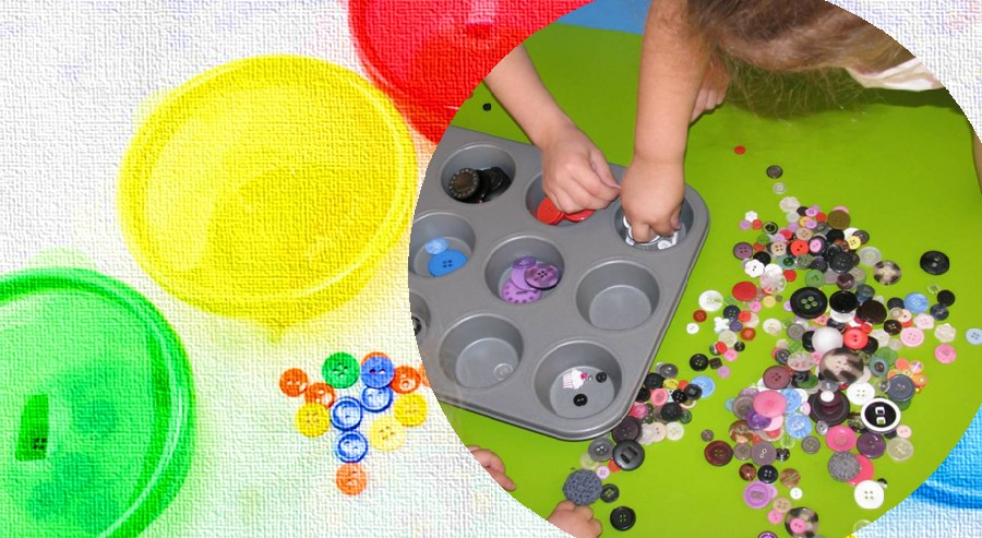Buttons color activity for toddler