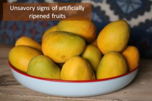 Unsavory sign of artificially ripened fruits