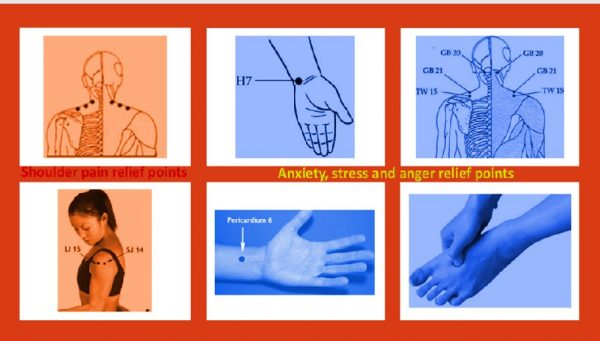 Shoulder and anxiety relief pressure points