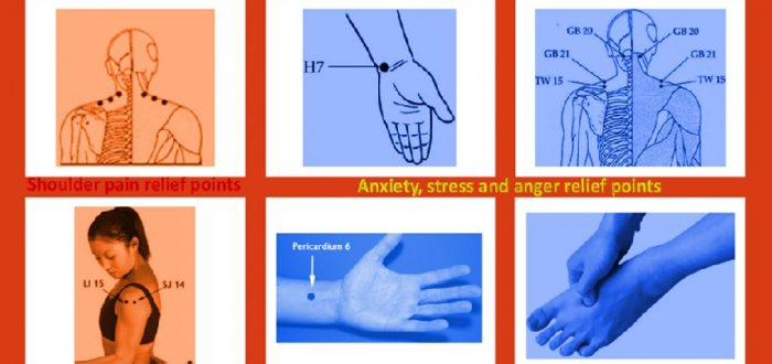 Shoulder pain and anxiety relief pressure points