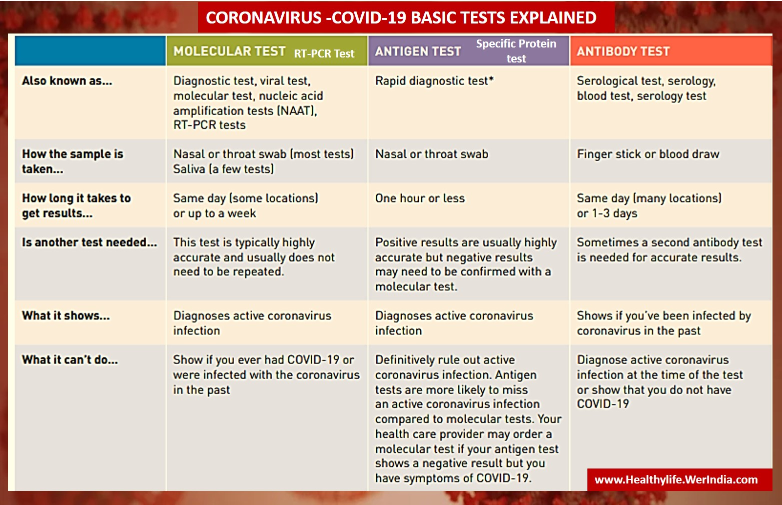 Covid 19 tests differences health infographic