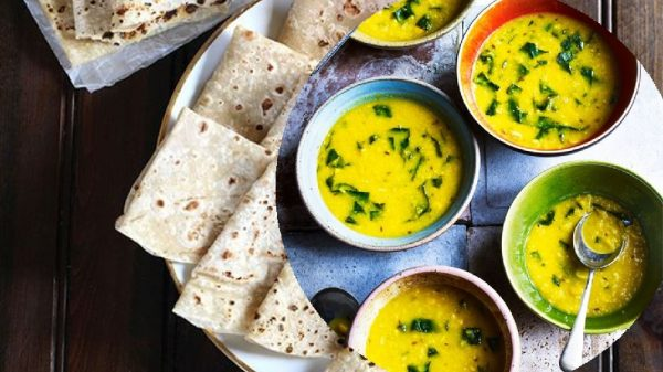 Sweet corn, spinach soup